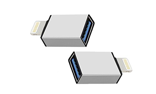iPhone OTG Adapter 2 Pack, Adwox Lightning 8-Pin to USB Female OTG Adapter for iPad 4 and iPad Mini