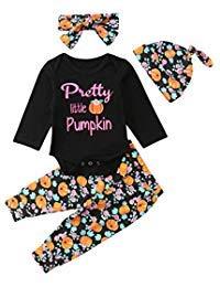 4Pcs Halloween Days Baby Girls Boys Pants Pumpkin Outfits Set, Newborn Letter Romper+Turkey Print Pants+Hats+Headband Clothes (Black, 6-12 Months) -