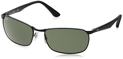 Ray-Ban METAL MAN SUNGLASS - BLACK Frame GREEN Lenses 59mm Non-Polarized