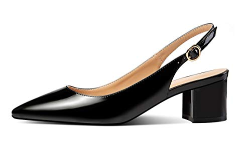 YODEKS Slingbacks Heels for Women Patent Leather Heels Slingback Pointed Toe Block Heel Pumps Ankle Buckle Chic Pumps, 2 inch Heel Height Patent Black US9.5