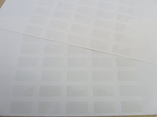 "70 Small Plain Clear Transparent Durable Plastic Labels 20x10mm (0.8"" x 0.4"") Rectangular Stickers"