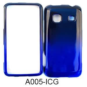 CELL PHONE COVER HARD CASE FOR SAMSUNG GALAXY PREVAIL M820 TWO TONE BLACK BLUE A005-ICG