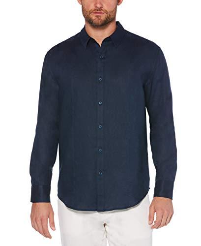 Cubavera Men's Tall Long Sleeve 100% Linen Essential Shirt with Pintuck Detail, Dress Blues, 2X-Large Big