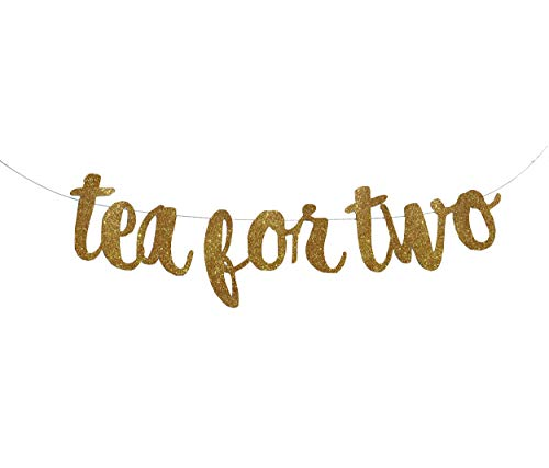 Tea for Two Banner Garland Sign, Glitter Gold, Party Decor, Alice in Wonderland, Smash Cake, 2nd Birthday, Tea Party ()