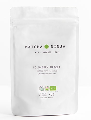 Matcha Ninja - 70g pouch - 100% Raw Organic Matcha Green Tea. Cold Water Soluble. Ceremonial Grade. Non-Bitter Extra Smooth (Extra Bitter)