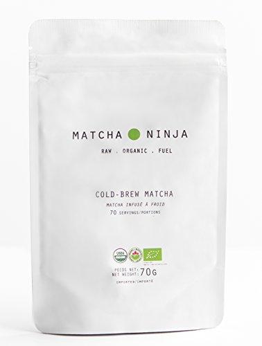 Matcha Ninja 100% Raw Organic Matcha Green Tea. Cold Water Soluble. Ceremonial Grade. Non-Bitter Extra Smooth Blend