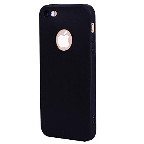 iPhone 5 5S SE Hülle , Fashion Schwarz TPU Leicht Weich Tasche Schutzhülle Silikon Handyhülle Stoßdämpfende Clear Schale Fall Case Shell für Apple iPhone 5 5S SE