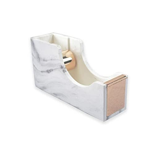 MultiBey Desktop Tape Dispenser Gold Rose Gold Metal Core Marble White Texture Office Supplies 1 (Rose Gold) DUOBEY