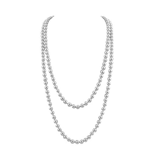 GRACE JUN Created/Faux Pearl Necklace Pendants Women Sweater Chain Long Pearl Necklace 55'' (White) ()