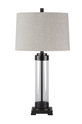 Ashley Furniture Signature Design - Talar Glass Table Lamp with Drum Shade - Clear/Bronze -