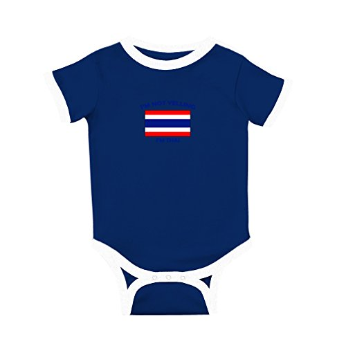 Cute Rascals I'm Not Yelling I Am Thai Thailand Cotton Short Sleeve Crewneck Unisex Baby Soccer Bodysuit Sports Jersey - Royal Blue, - Soccer Thai Jersey