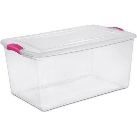 Sterilite 66 Quart Latch Box- Fuchsia Burst, Case of 6