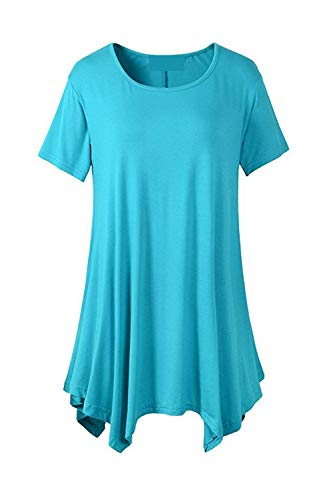 Tops Courtes Spcial Casual Rond Uni Shirt Elgante Bleu Top Branch Bouffant Tee Tshirt Style Col Manche Mode Style Manches Et Femme Irrgulier Moderne xwtqqCYOZ