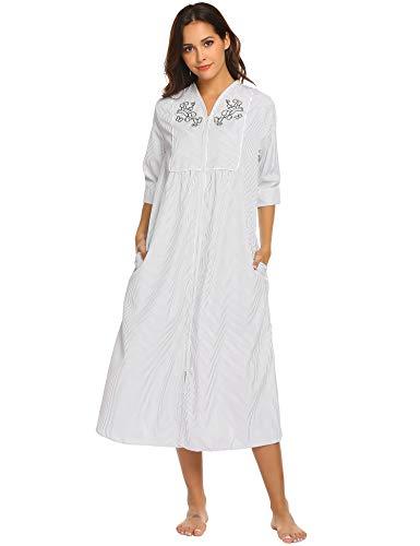 Ekouaer Women s Sleepwear Zip Front Duster Short Sleeve House Dress Long  Nightgown S-XXL ad0dd365f
