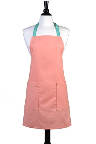 (Womens Linen Apron Chef - Peach Mango Linen Blend Vintage Style Retro Kitchen Cooking - Two Large Pockets)
