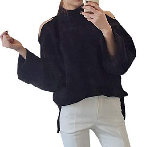 Tops Mode Shirts Automne Casual avec Femmes Printemps Pullover Sweat Epaule Lache Pulls Jumpers Noir Longues Hauts Fendue Manches Nu et Monika Blouse qXYzX