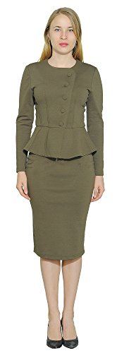 (Marycrafts Women's Formal Office Business Shirt Jacket Skirt Suit 12 Olive Drab)