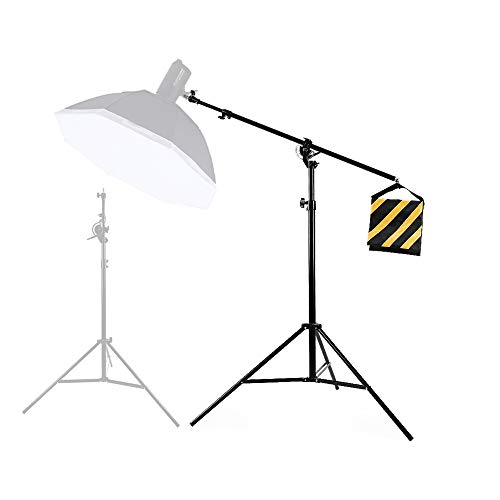 YUOCU Update New 13.2ft / 4m Two Way Heavy-Duty Air-Cushioned Light Stand, 6.5ft / 85 inch Boom Arm with Sandbag,Aluminum Alloy Tripod Boom,1/4
