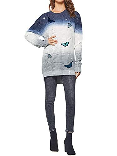 PLNCAYFZ Women Butterfly Print Gradient High-Low Hem Knitted Sweater Top Blue