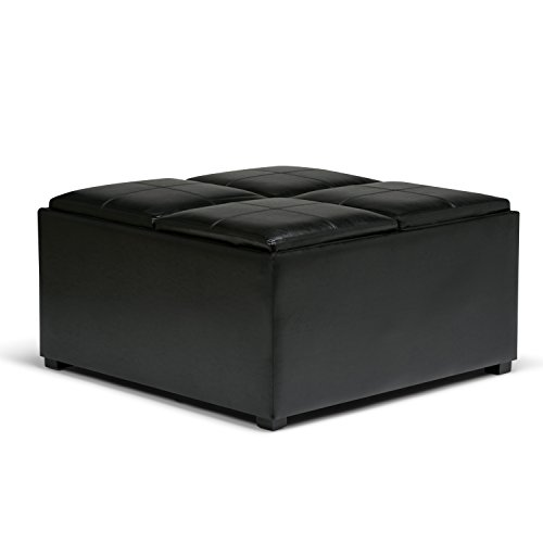 Coffee Table Storage Ottoman - Simpli Home Avalon Coffee Table Storage Ottoman with 4 Serving Trays, Midnight Black
