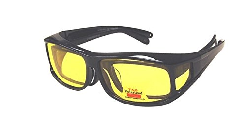 Men and Women Polarized Night Driving Fit Over Lens Cover Sunglasses - Italian Black - Driving Yellow Glasses