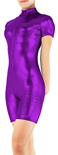 Marvoll Shiny Metallic Short Sleeved Unitard Catsuit for Kids and Adults (X-Large, Purple) (Purple Morphsuit)