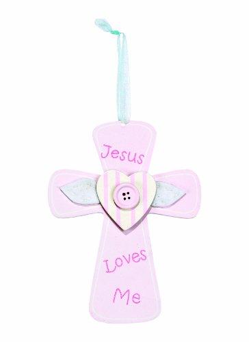 Dicksons Jesus Loves Me Cross Door Hanger, Pink