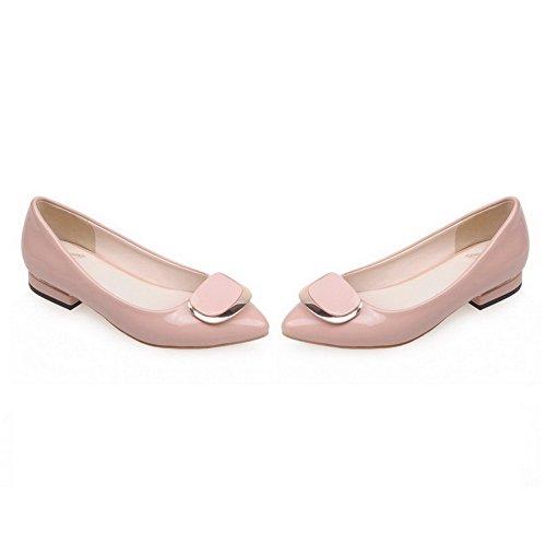 AgooLar Damen Niedriger Absatz Rein Ziehen auf Spitz Zehe Pumps Schuhe Pink