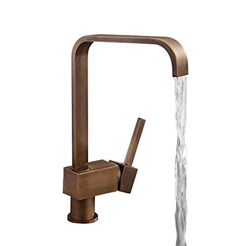 (ZQG Antique Brass Single Lever Square Mono Kitchen Sink Mixer Tap Swiveling Spout Kitchen Faucet)