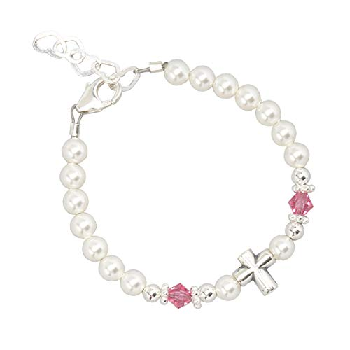 Baptism Sterling Silver Cross Bead with Swarovski White Simulated Pearls Pink Crystals Baby Bracelet (BSCHP_M+)