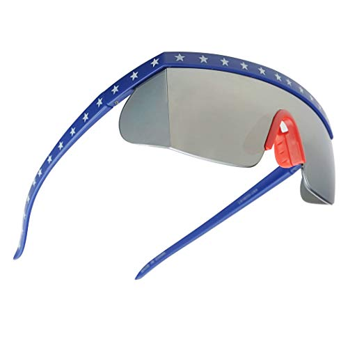 SunglassUP Semi Rimless USA Patriotic American Red White and Blue Sunglasses with Mirrored Side Shield Lens (American Flat, Silver ()