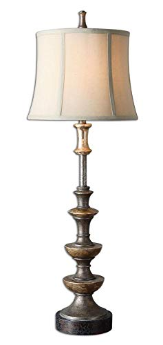- Uttermost 29290 Vetralla - One Light Buffet Table Lamp, Silver/Antiqued Silver Champagne/Dark Bronze Finish with Ivory Linen Fabric Shade