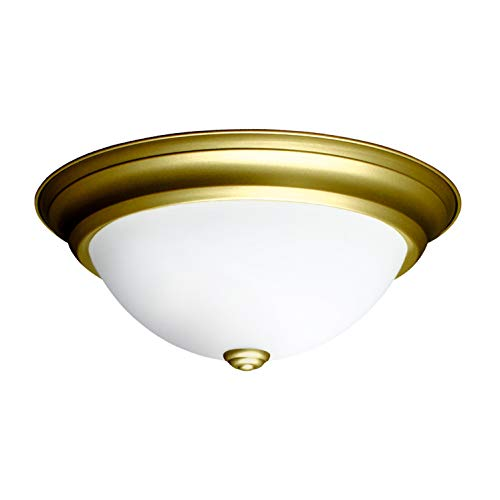 IN HOME 12,9 Inch LED Dimmable Flush Mount Ceiling Light Fixture Round Dome Opal Glass Shade 18 Watt (90W Repl) 4000K Bright White 1000 Lm, Gold Finish, UL & Energy Star Listed