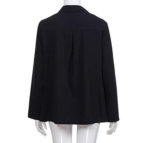 Tops Loose Chic Blouse Femme Tunique Grande Solike Revers Chemise Printemps Col 5XL T Casual Bouton Longues Shirt Automne avec Manches S Noir Taille Owwvx6z
