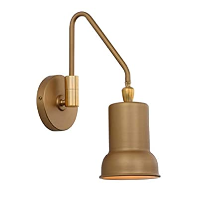 "Phansthy 1-Light Wall Sconce Industrial Wall Lamp with 4.7"" Metal Canopy and 180 Degree U Turn Arm"