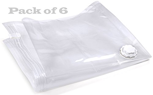 (Pack of 6) Space Saver Storage Vacuum Sealer Bags Double-Zip Seal Medium Size 19.5 X 33.5 inch (55 X 85 (Helium Machine Rental)