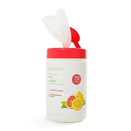 cleanzex 100% algodón máscara CPAP toallitas húmedas con pomelo limón aroma, 70 toallitas