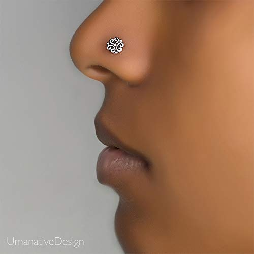 Unique Flower Nose Ring Stud, Sterling Silver Indian Nose Pin Piercing, Tribal Style, 20g, L Back Shape, Handmade Piercing Jewelry