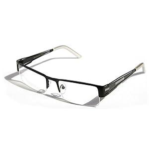 Men Rectangular Half Rimless Metal Reader Reading Glasses Sophisticate look (Black, 2.50)