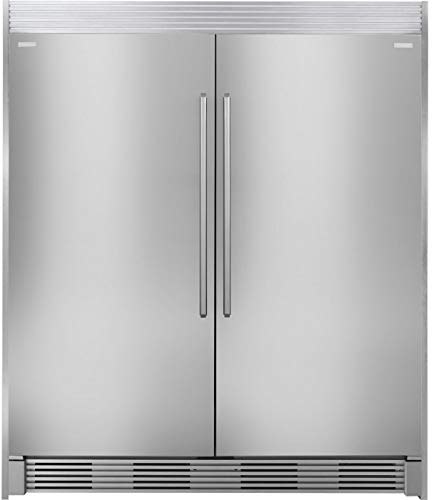 Electrolux 64″ side by side refrigerator EI32AR80QS & freezer EI32AF80QS with trim kit TRIMKITSS2 in stainless steel