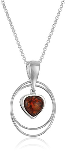 Amber Sterling Silver Heart Pendant Necklace, 18