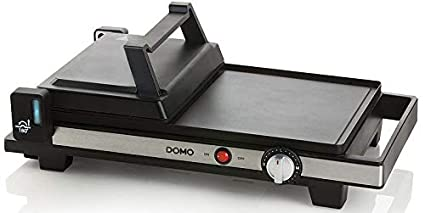 Domo DO9238G parrilla eléctrica de contacto - Parrillas eléctricas de contacto (Black,Stainless steel, Rectangular, Rotary, 400 x 250 mm, 2200 W)