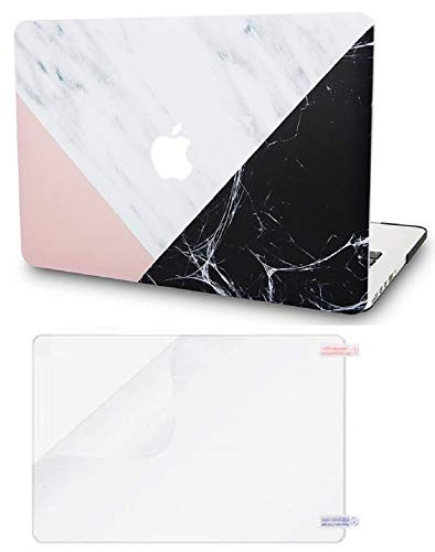 """KECC Laptop Case for Old MacBook Pro 13"""" Retina (-2015) w/Screen Protector Plastic Hard Shell Case A1502/A1425 2 in 1 Bundle (White Marble with Pink Black)"""