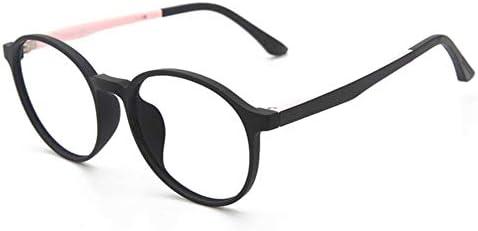 Miwaimao ゲーミング メガネ,ティーンズアンチブルーライトメガネキッズユース高校オプティカルフレームラウンドレンズ学生コンピュータメガネ、ブラックピンク