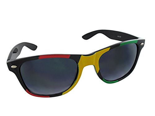 Retro Style 80`s Black Frame Rasta Sunglasses Gradient - Frames Soho Eyewear