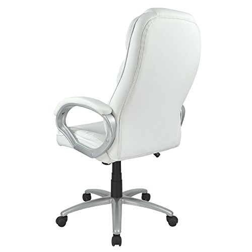 White High Back Leather Executive Office Desk Task Computer Chair w/Metal Base O10