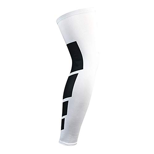 Sport Silicone Long Knee Sporting Support Brace Pad Breathable Compression Leg Sleeve Protector,White,M
