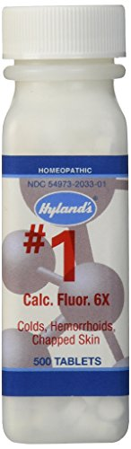 Hyland's Cell Salts #1 Calcarea Fluorica 6X Tablets, Natural Homeopathic Relief of Colds, Hemorrhoids and Chapped Skin, 500 Count