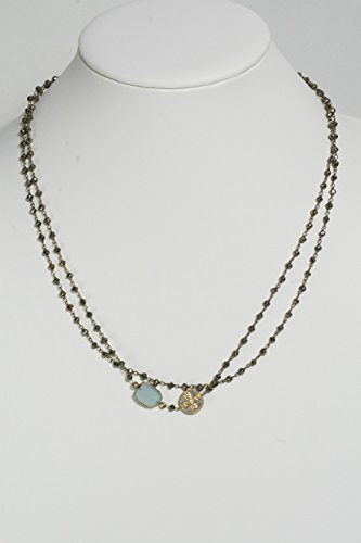 Long Necklace with Blue Quartz Bezel, Cross Charm and Pyrite Beads