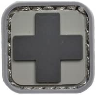 メディック 衛生兵 十字 クロス ベルクロ ワッペン パッチ 下地:灰色 / 十字:黒色